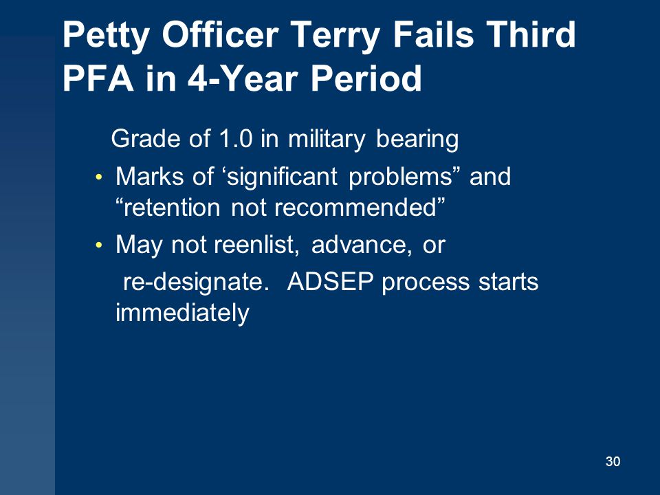 Petty Officer Terry Fails Third PFA in 4-Year Period