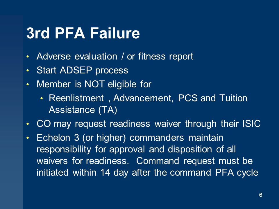 3rd PFA Failure Adverse evaluation / or fitness report