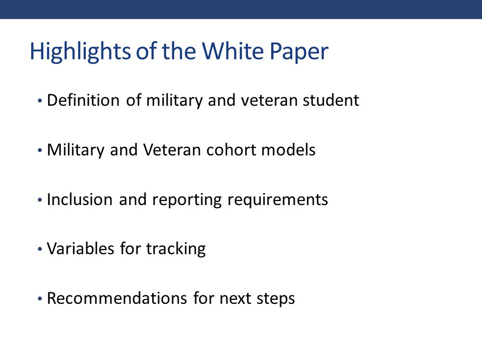 Highlights of the White Paper