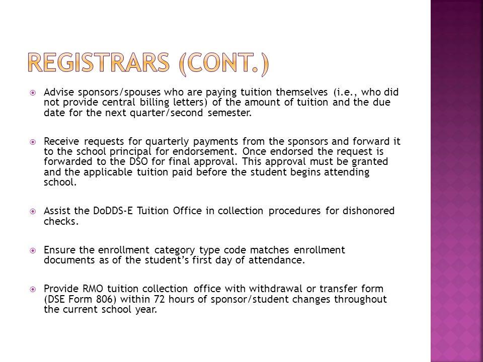 Registrars (CONT.)