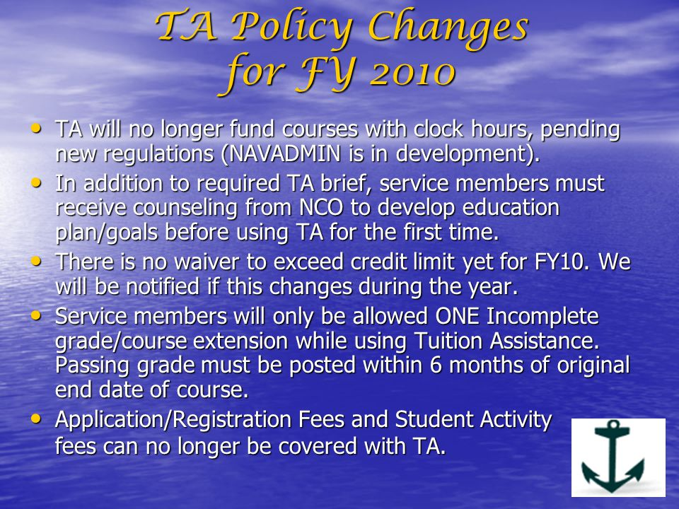 TA Policy Changes for FY 2010