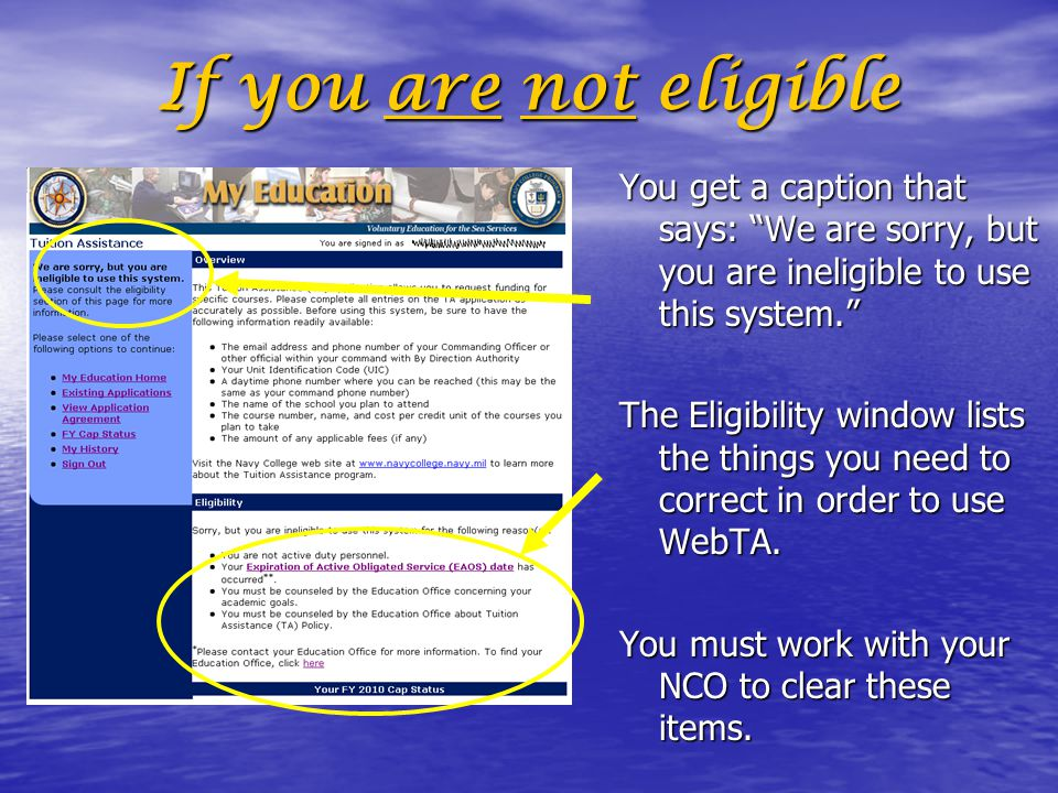 If you are not eligible You get a caption that says: We are sorry, but you are ineligible to use this system.