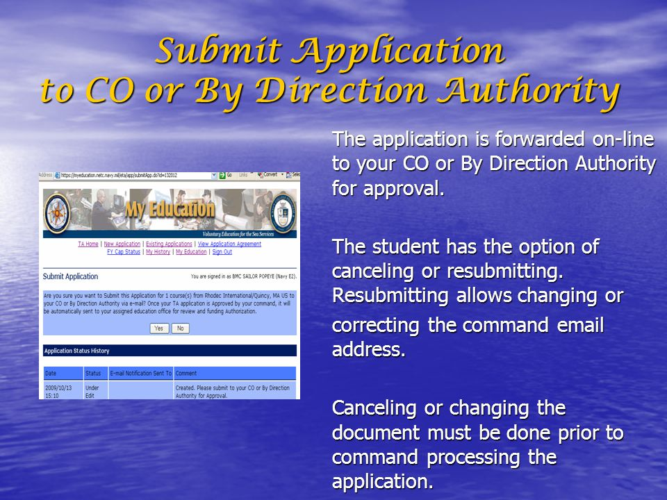 Submit Application to CO or By Direction Authority