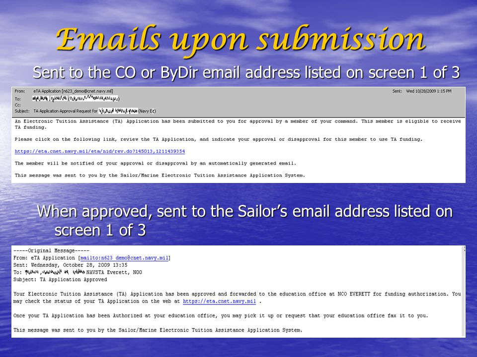 Emails upon submission