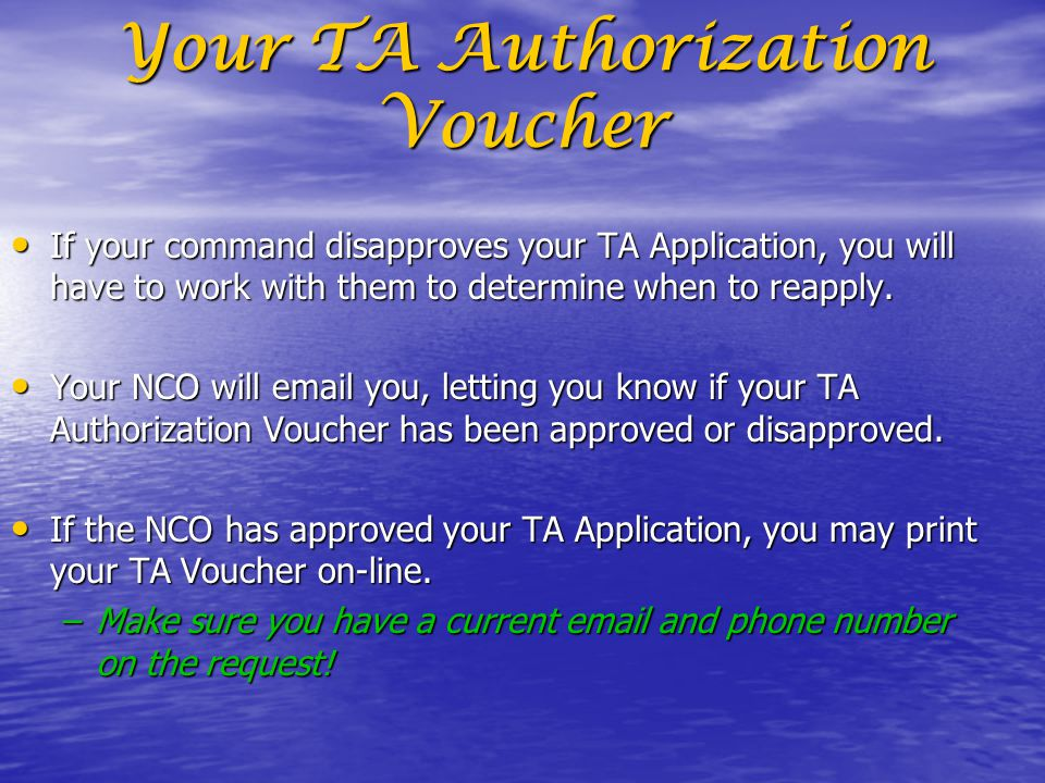 Your TA Authorization Voucher