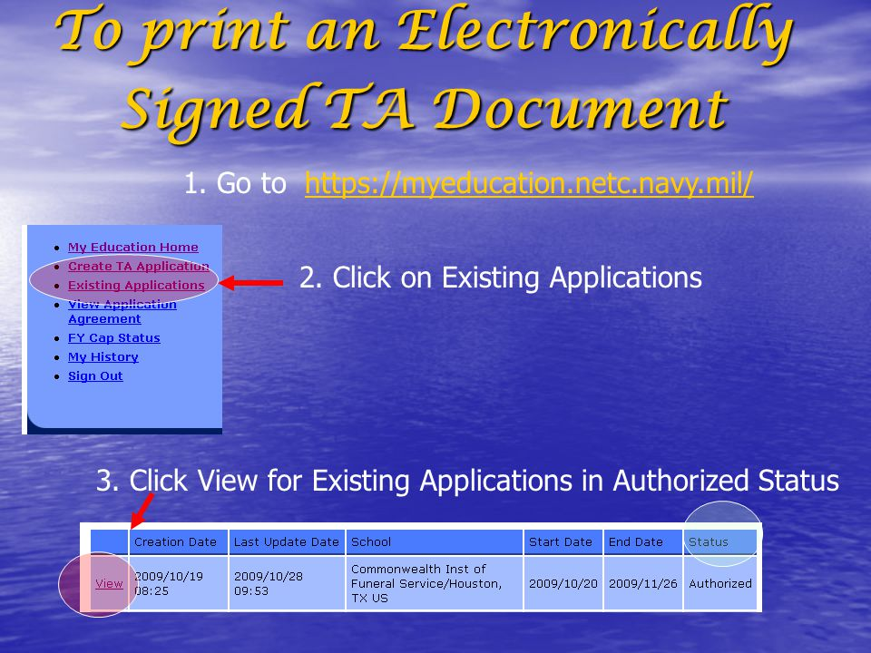 To print an Electronically Signed TA Document