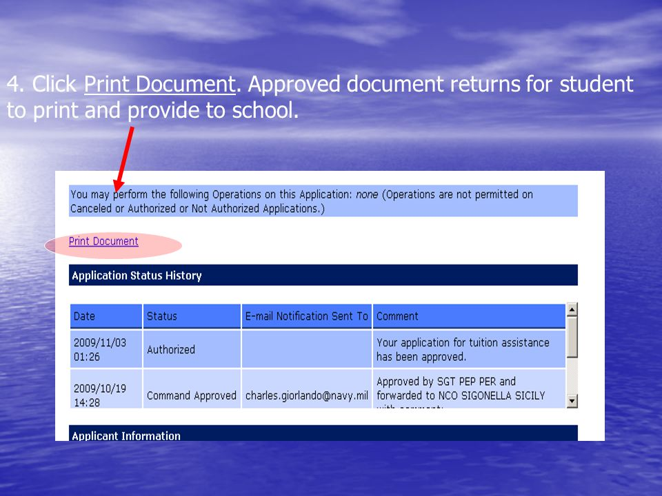 4. Click Print Document. Approved document returns for student to print and provide to school.