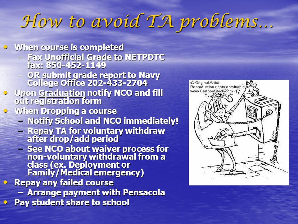 How to avoid TA problems…