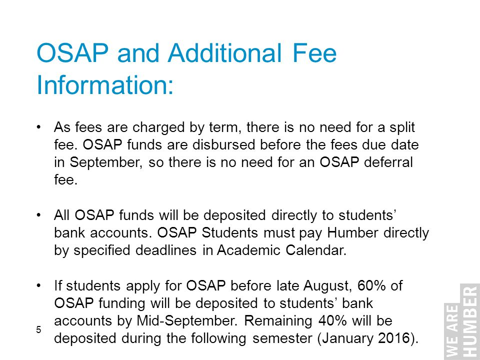 OSAP and Additional Fee Information: