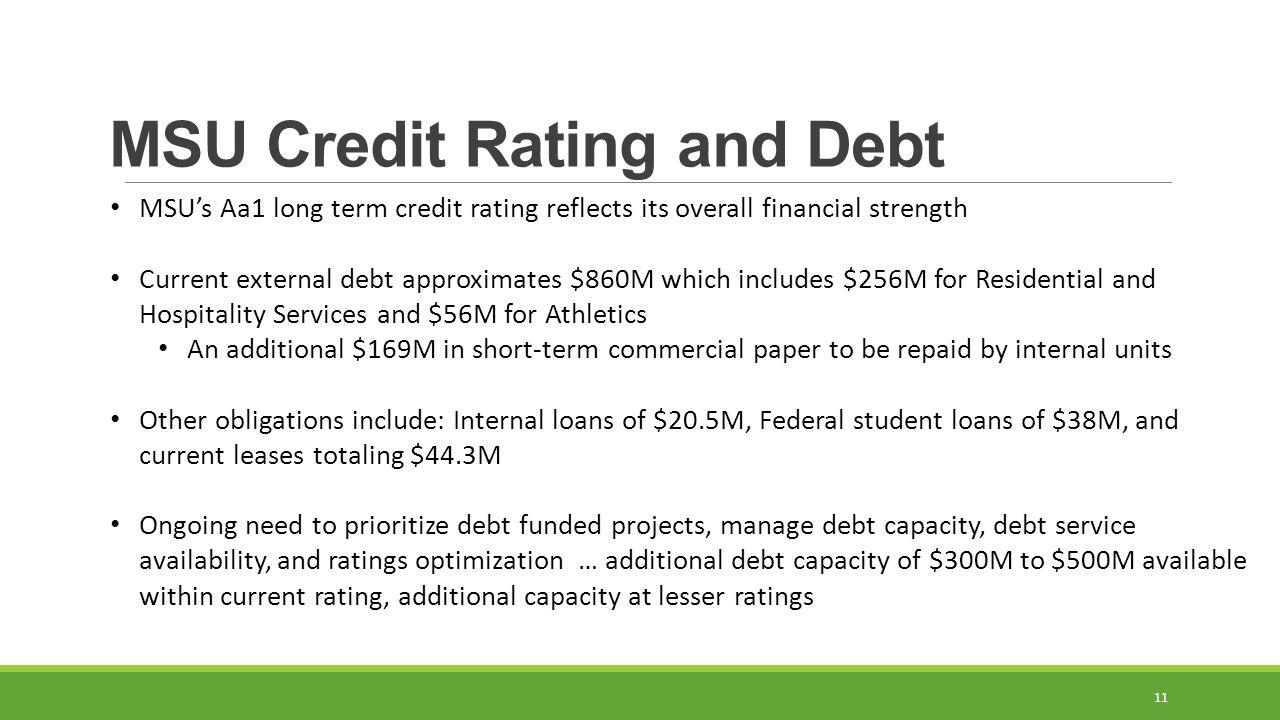 MSU Credit Rating and Debt