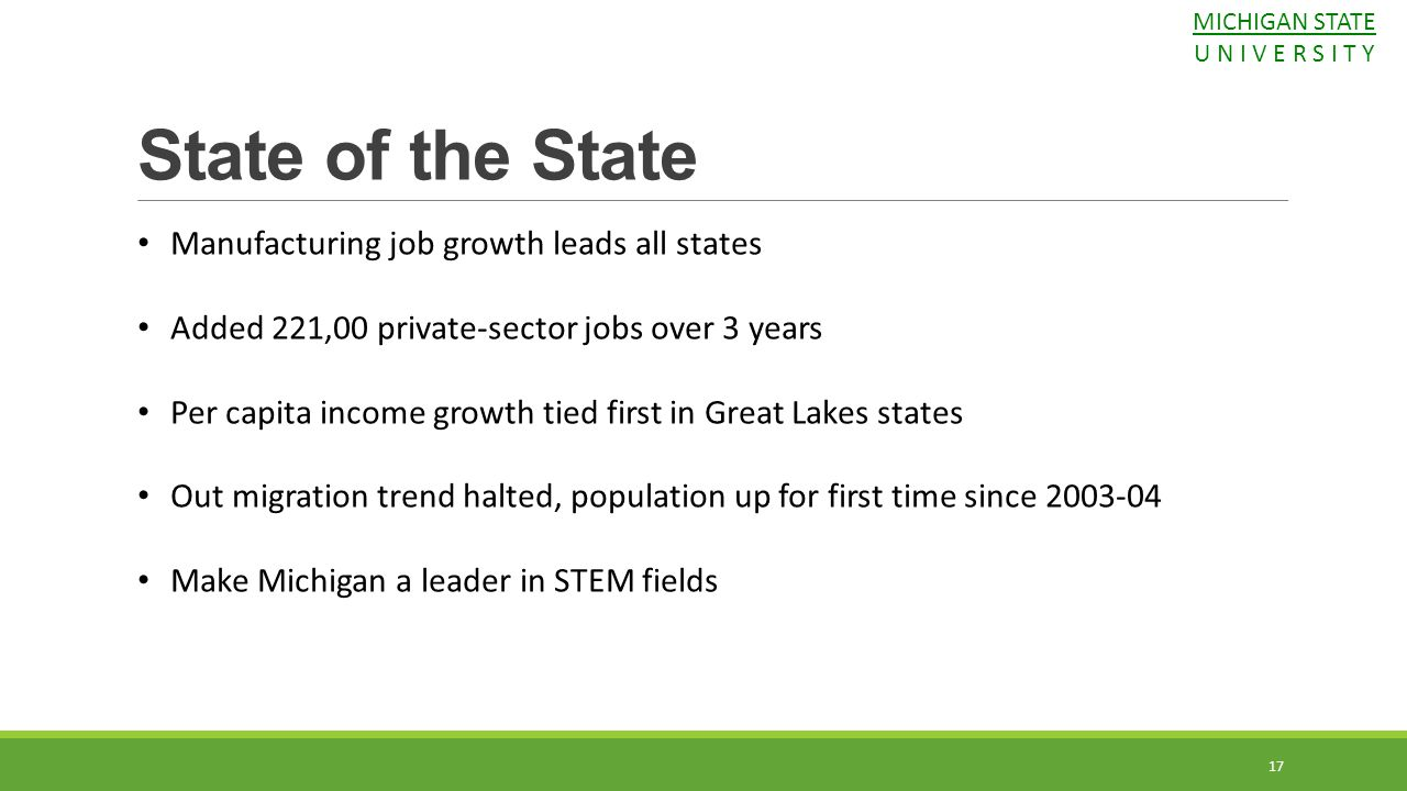 State of the State Manufacturing job growth leads all states