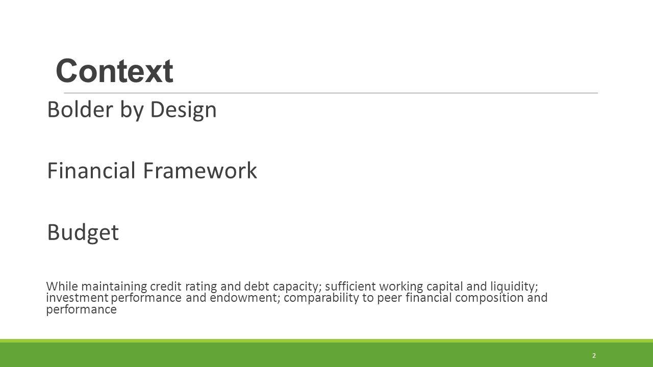 Context Bolder by Design Financial Framework Budget