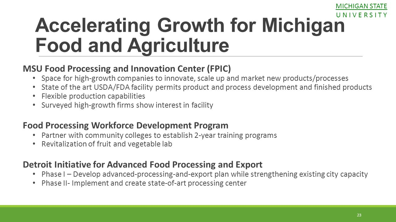 Accelerating Growth for Michigan Food and Agriculture