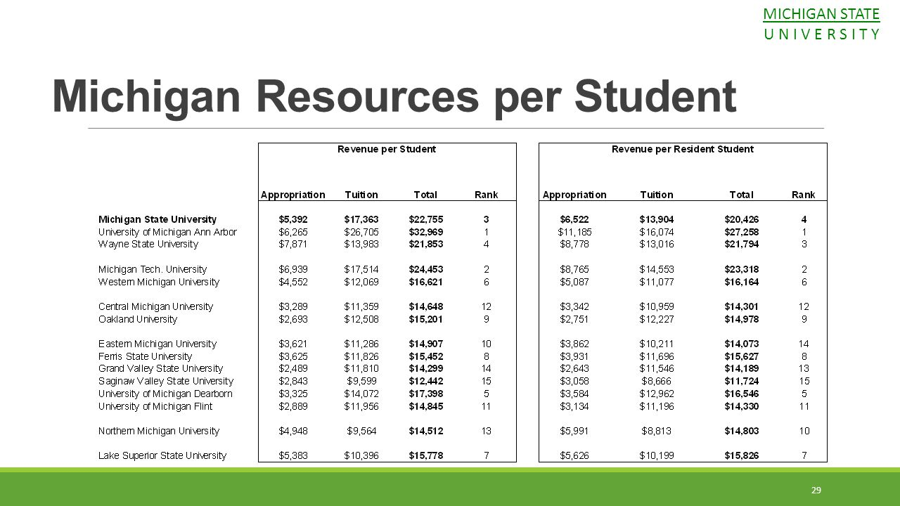 Michigan Resources per Student