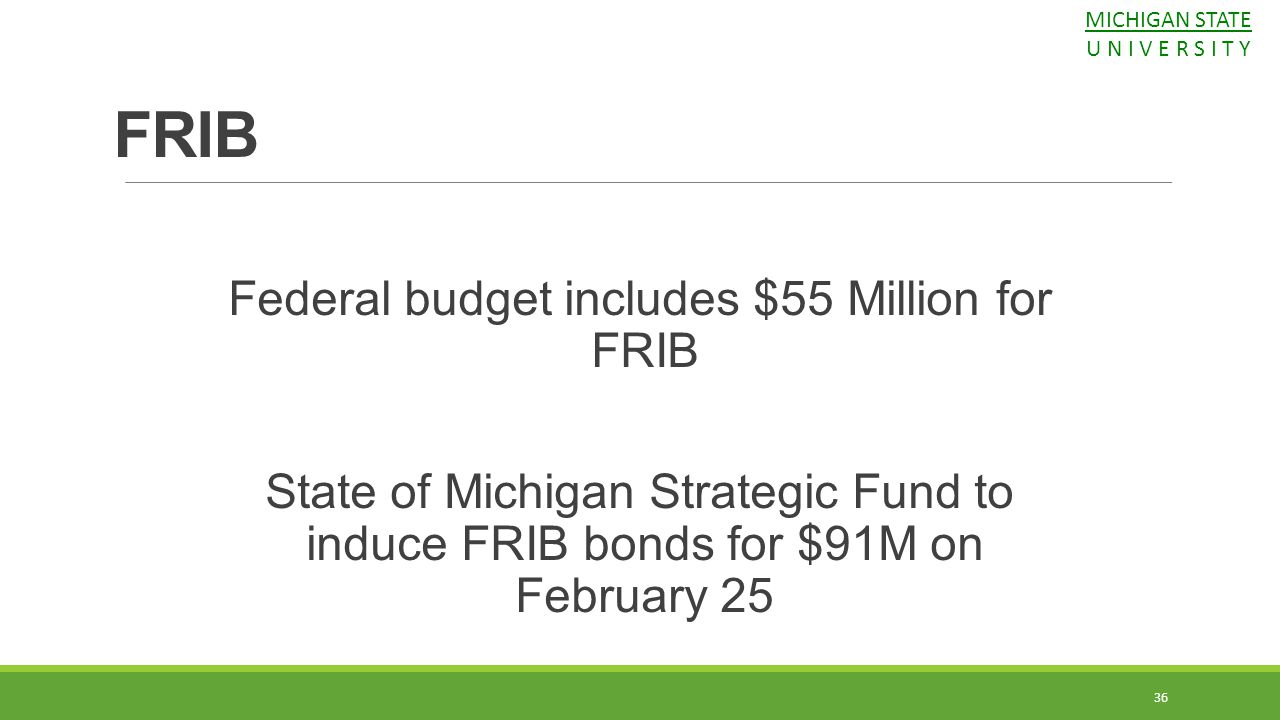Federal budget includes $55 Million for FRIB