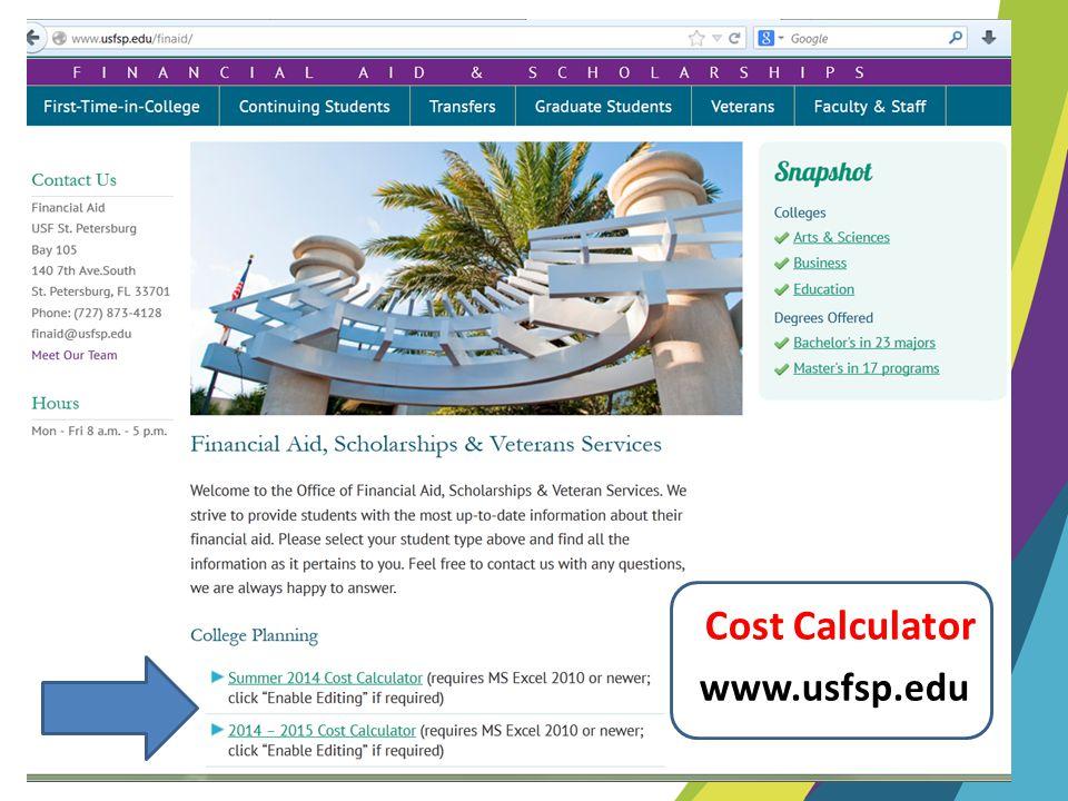 Cost Calculator www.usfsp.edu