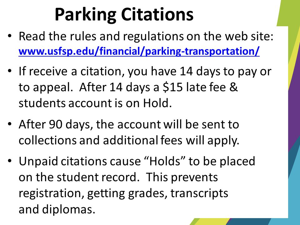 Parking Citations Read the rules and regulations on the web site: www.usfsp.edu/financial/parking-transportation/