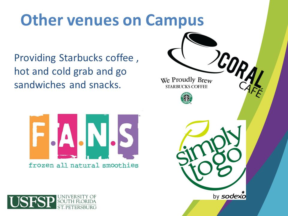 Other venues on Campus Providing Starbucks coffee , hot and cold grab and go sandwiches and snacks.