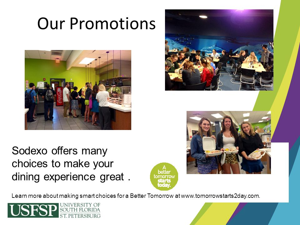 Our Promotions Sodexo offers many choices to make your
