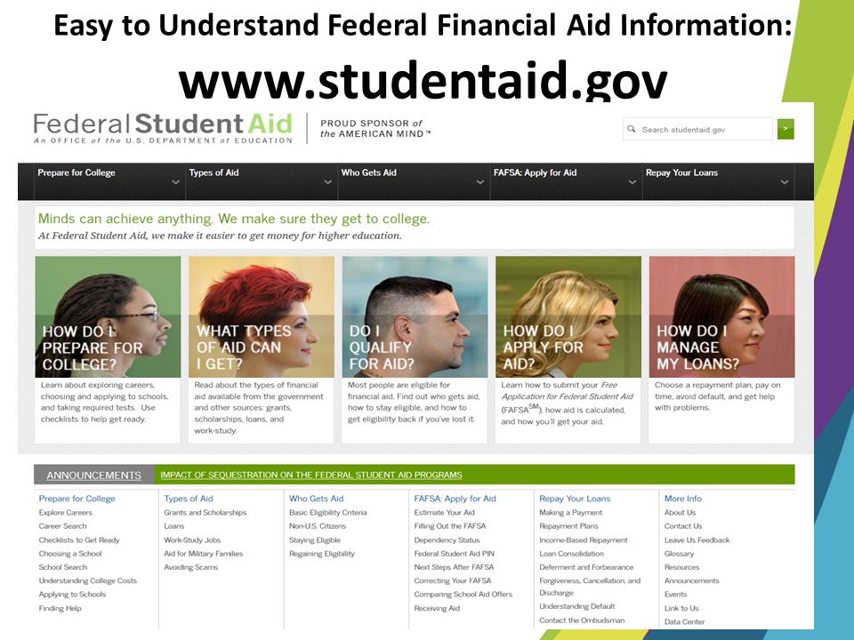 Easy to Understand Federal Financial Aid Information: www. studentaid