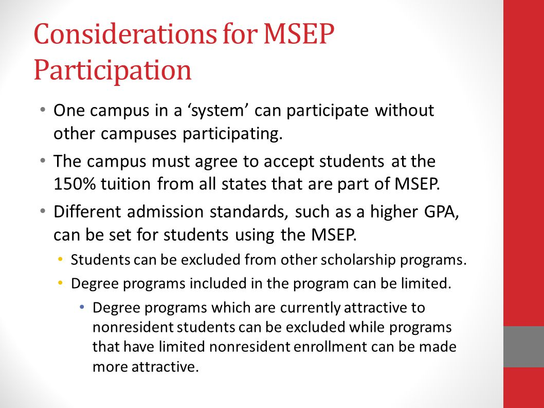 Considerations for MSEP Participation
