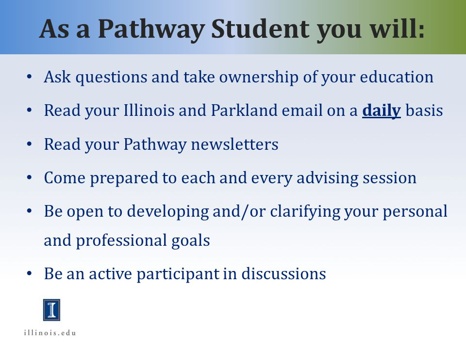As a Pathway student you will…