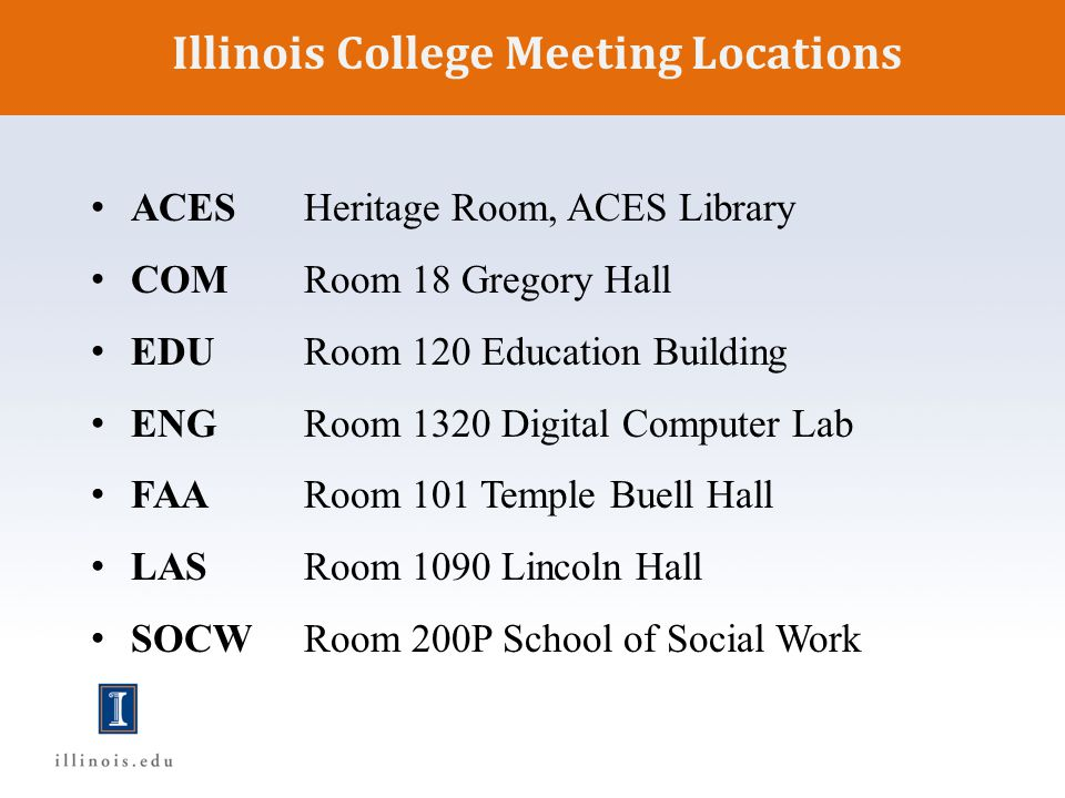 Illinois College Meeting Locations