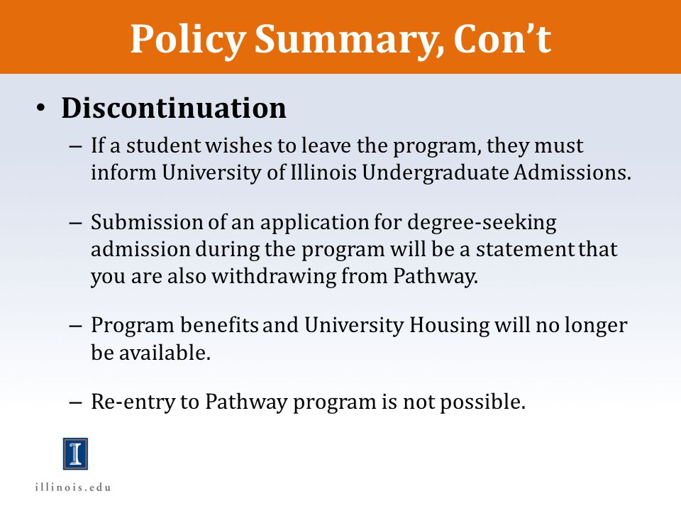 Policy Summary, Con't Discontinuation