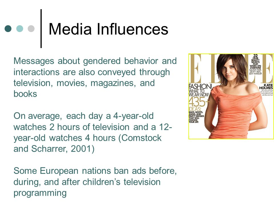 Media Influences Messages about gendered behavior and interactions are also conveyed through television, movies, magazines, and books.