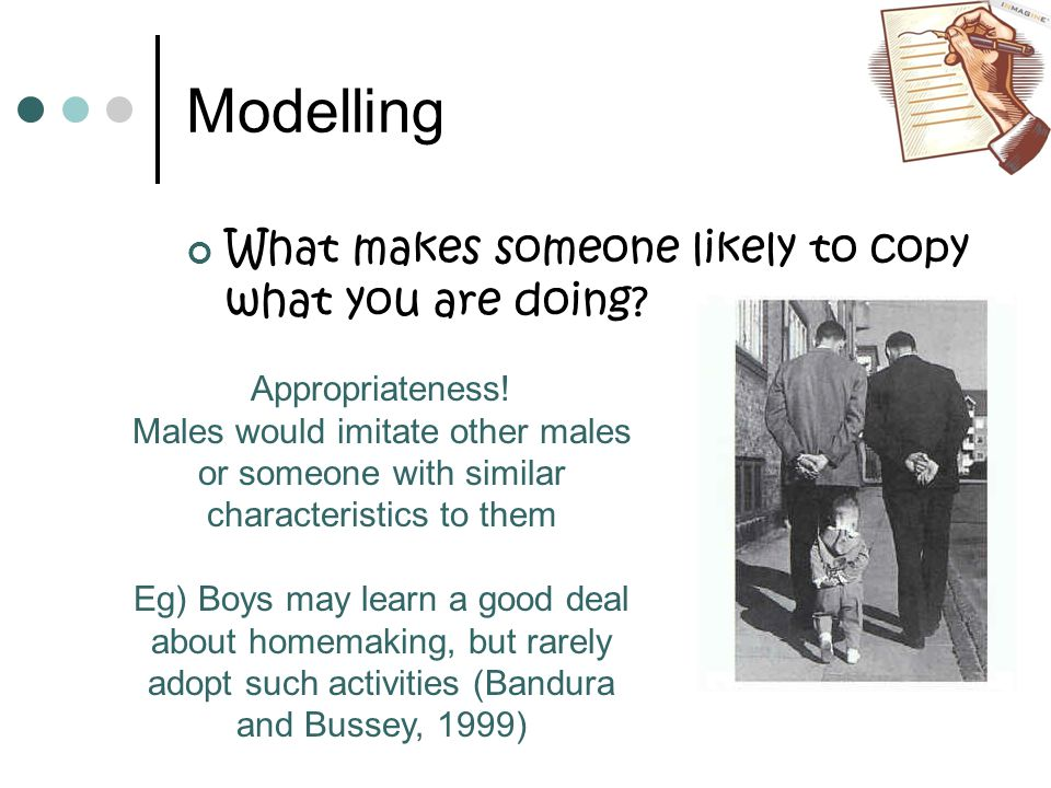 Modelling What makes someone likely to copy what you are doing