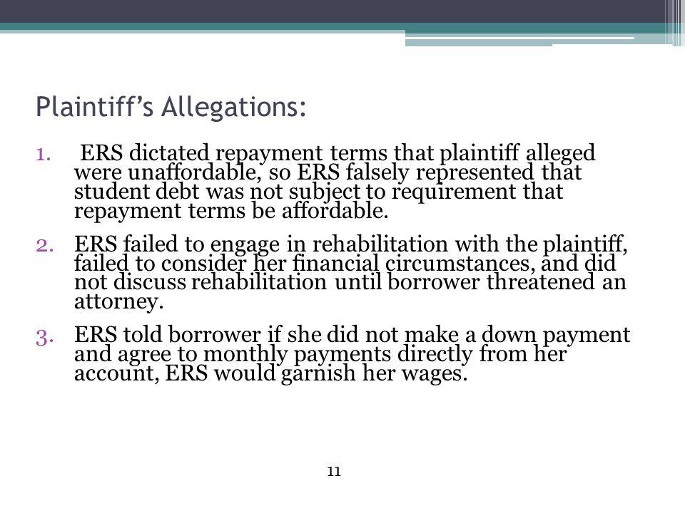 Plaintiff's Allegations: