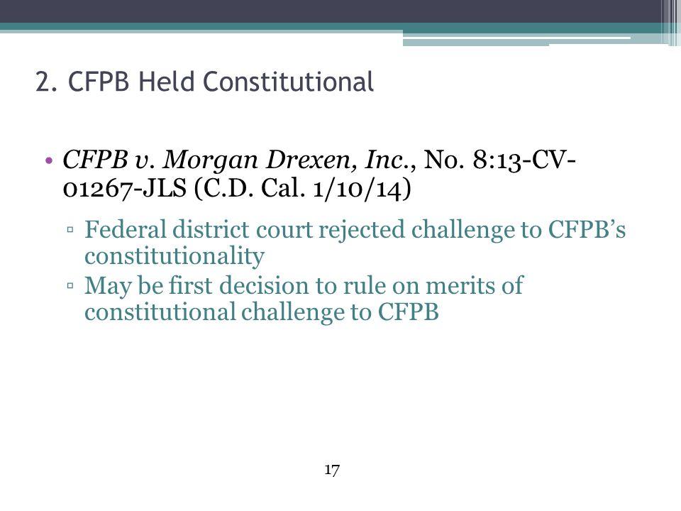 2. CFPB Held Constitutional