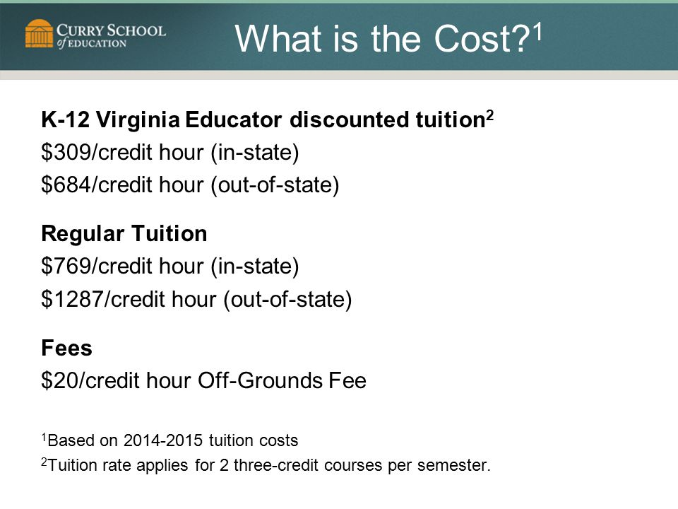 What is the Cost 1 K-12 Virginia Educator discounted tuition2