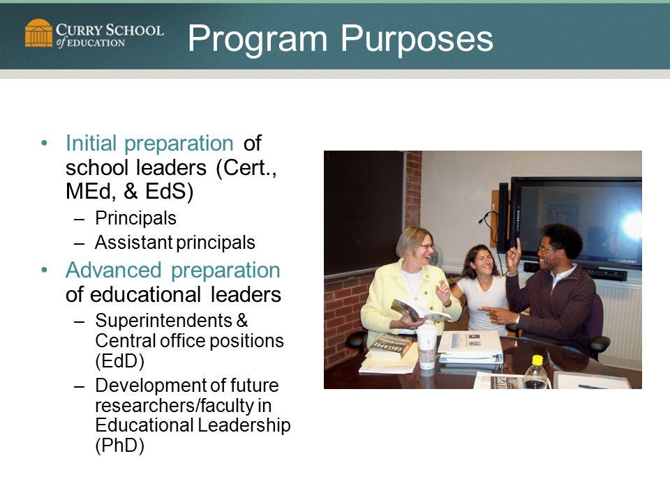 Program Purposes Initial preparation of school leaders (Cert., MEd, & EdS) Principals. Assistant principals.