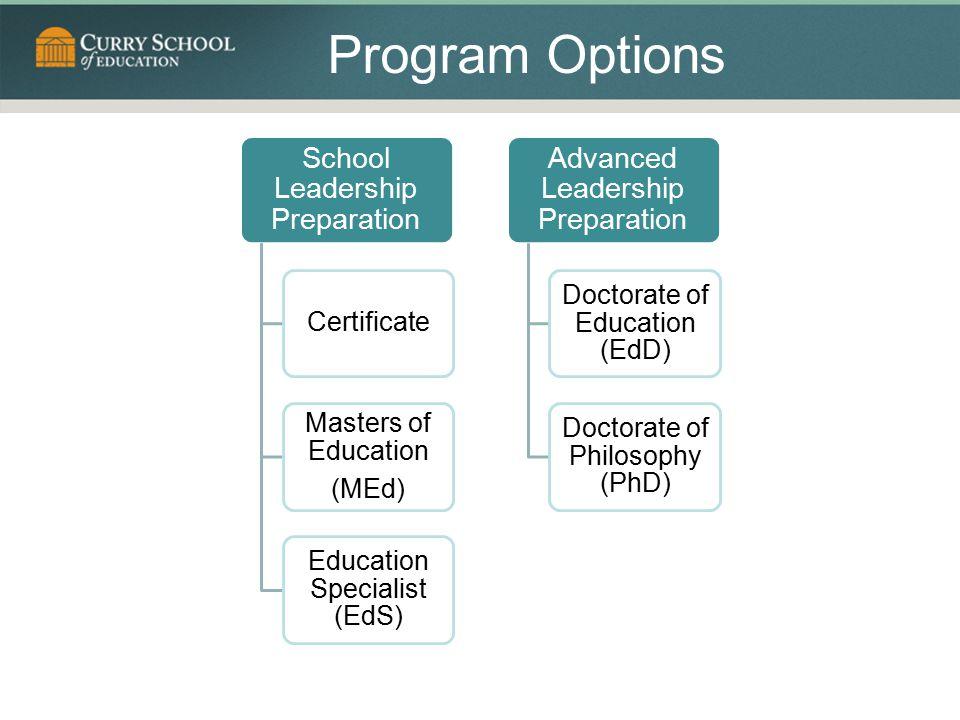 Program Options School Leadership Preparation