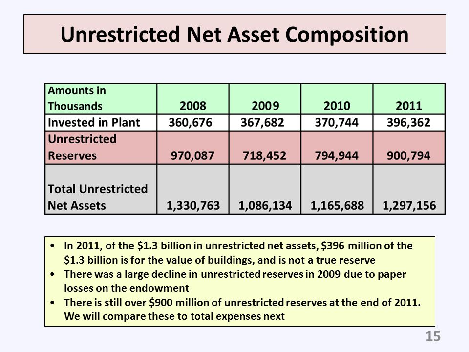 Unrestricted Net Asset Composition