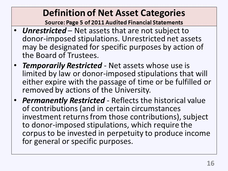 Definition of Net Asset Categories Source: Page 5 of 2011 Audited Financial Statements
