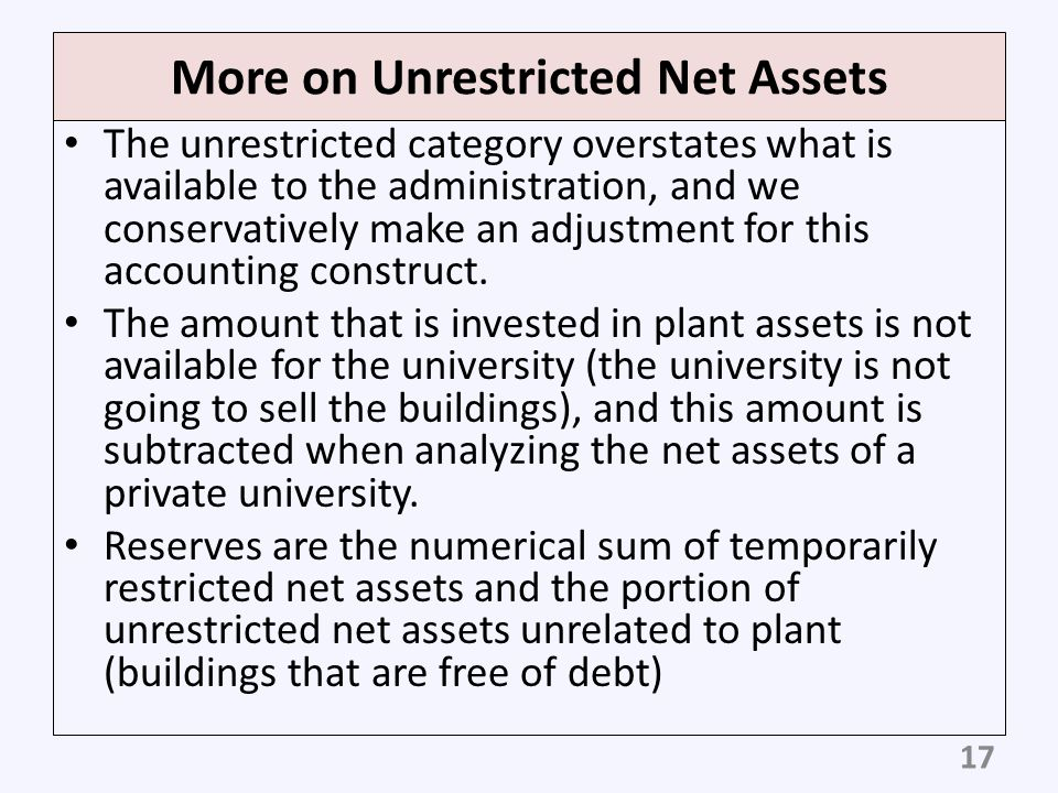 More on Unrestricted Net Assets