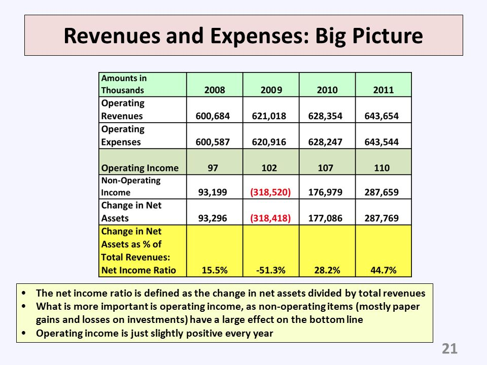 Revenues and Expenses: Big Picture