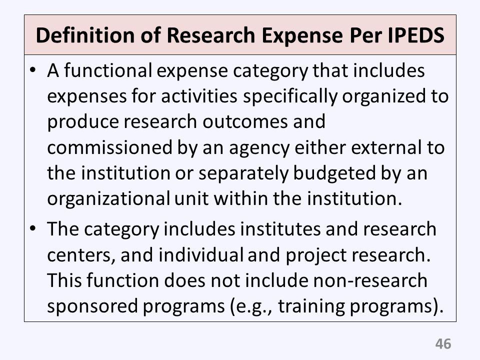 Definition of Research Expense Per IPEDS