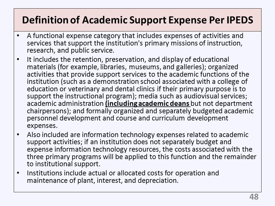 Definition of Academic Support Expense Per IPEDS