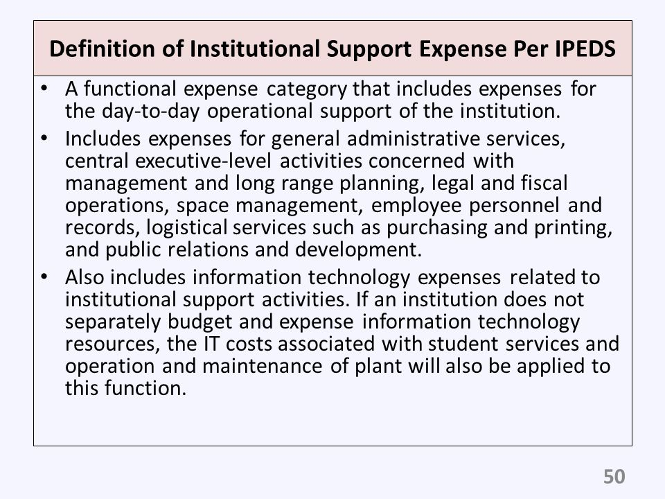 Definition of Institutional Support Expense Per IPEDS