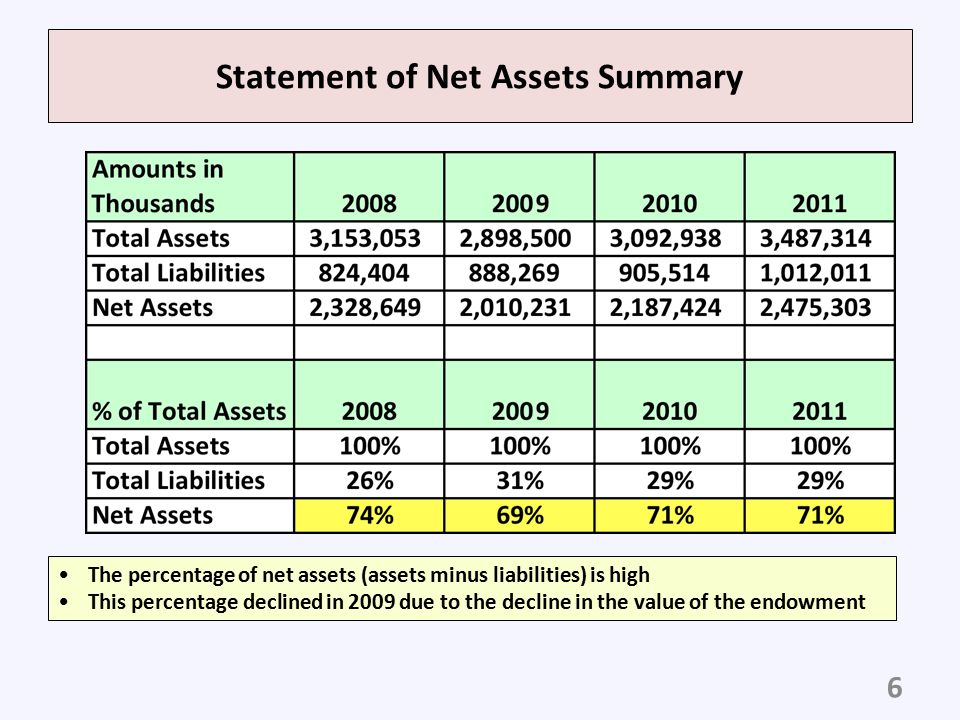 Statement of Net Assets Summary