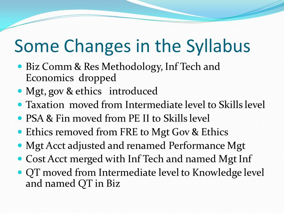Some Changes in the Syllabus