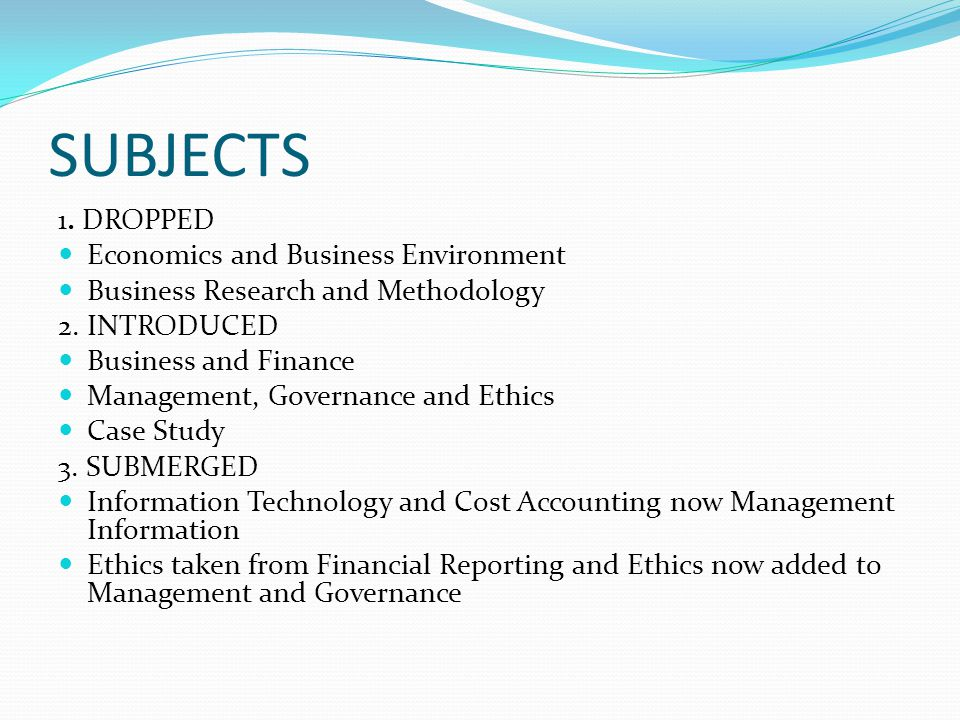 SUBJECTS 1. DROPPED Economics and Business Environment