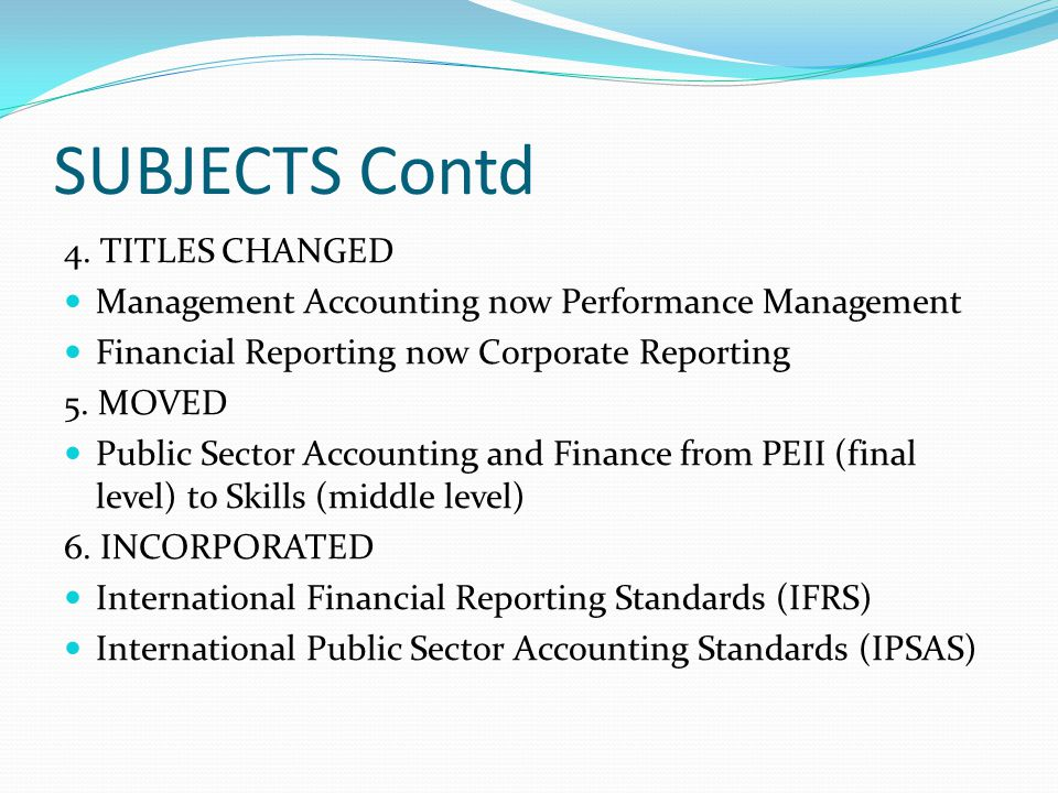SUBJECTS Contd 4. TITLES CHANGED