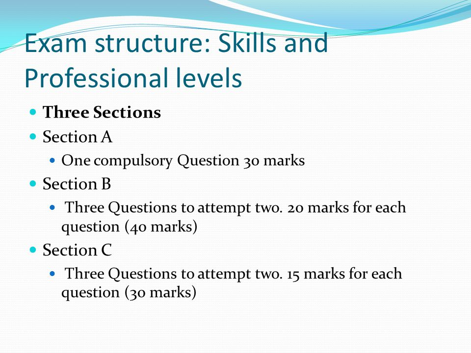 Exam structure: Skills and Professional levels