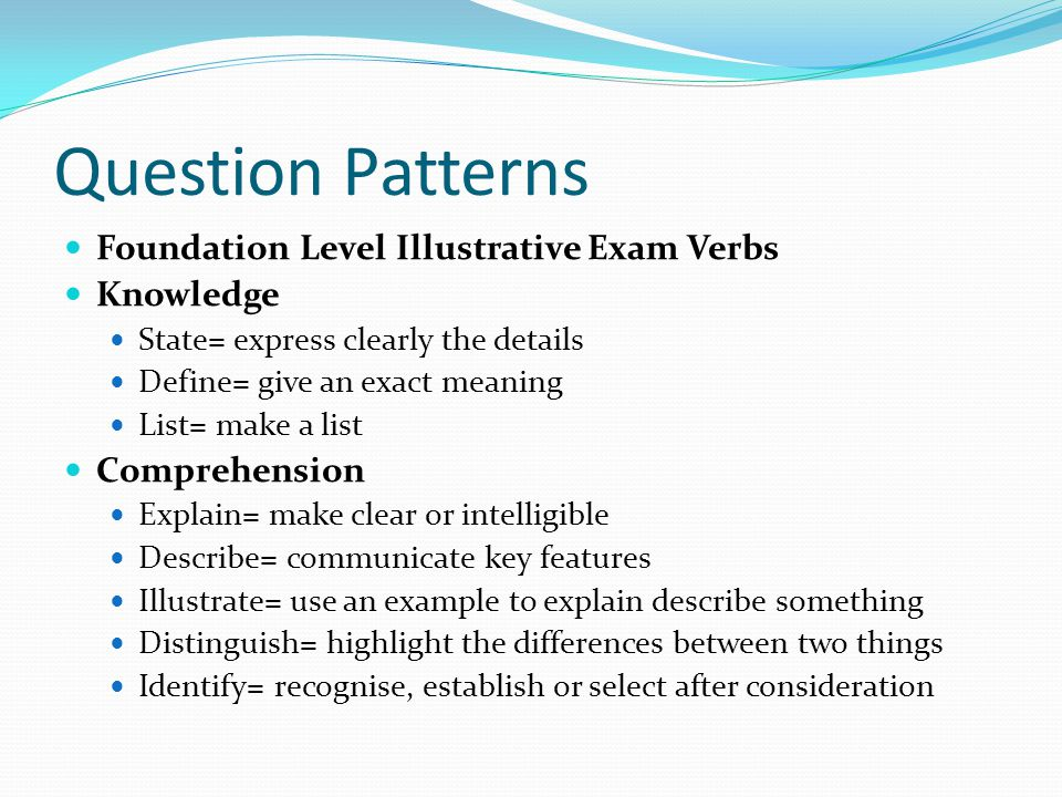 Question Patterns Foundation Level Illustrative Exam Verbs Knowledge