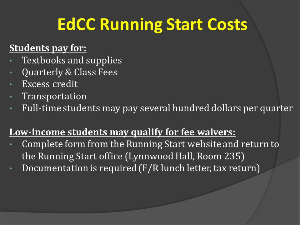 EdCC Running Start Costs