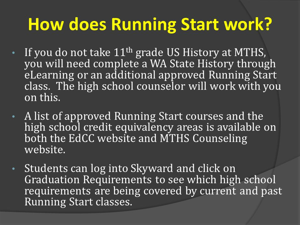 How does Running Start work